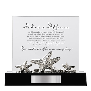 Baudville® Crystal Character Trophy With Metal Figurine, Starfish: Making a Difference
