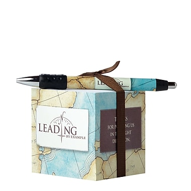 Baudville® Sticky Note Cube With Pen Set, Leading by Example