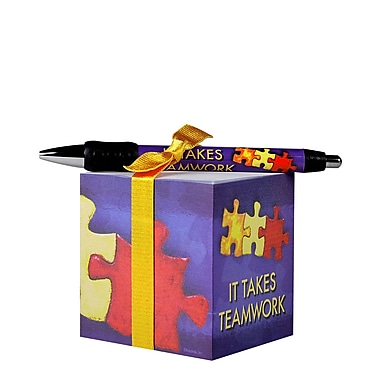 Baudville® Sticky Note Cube With Pen Set, It Takes Teamwork
