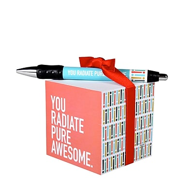 Baudville® Sticky Note Cube With Pen Set, Exclamations Pure Awesome