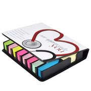 Baudville® Full-Color Flip Top Sticky Note Holder With Calendar, Stethoscope We Appreciate You