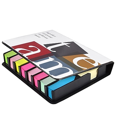Baudville® Full-Color Flip Top Sticky Note Holder With Calendar, TEAM