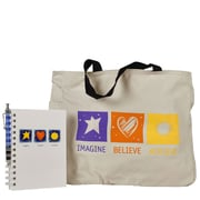 Baudville® Tote Bag With Journal And Pen, Imagine, Believe, Achieve