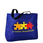 Baudville® Royal Blue Tote Bag, It Takes Teamwork