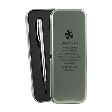 Baudville® Metal Tin Silver Pen and Pencil Gift Set With Tin, Essential Piece
