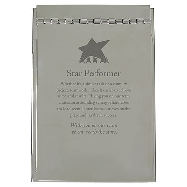 Baudville® Silver Flip Memo Pad Holder, Star Performer