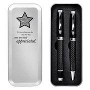 Baudville® Carbon Fiber Dual Pen Gift Set, You Are Truly Appreciated
