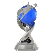 Baudville® Elite Time to Shine Trophy With Blue Art Glass Globe, You Make a World of Difference