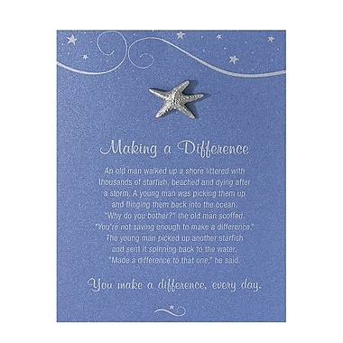 Baudville® Pewter Character Pin With Card, Starfish: Making a Difference - Blue Card