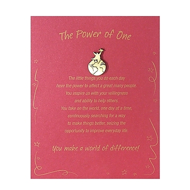 Baudville® Antiqued Brass Character Pin With Card, Power of One You Make a World of Difference