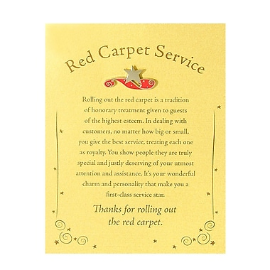 Baudville® Character Pin With Card, Red Carpet Service