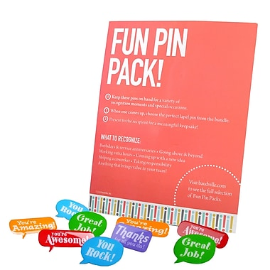 Baudville® Fun Pin Pack, Positive Praise