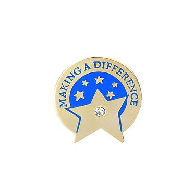 Baudville® Lapel Pin, Making a Difference Star With Gem