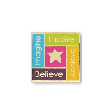 Baudville® Gold-Plated Metal Lapel Pin, Imagine, Inspire, Achieve, Believe Star