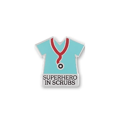 Baudville® Lapel Pin, Superhero in Scrubs