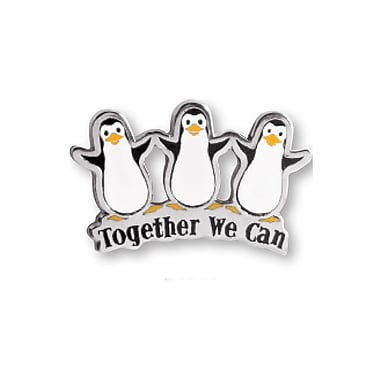 Baudville® Lapel Pin, Penguins Together We Can