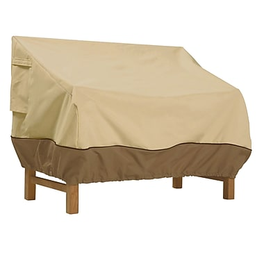 Classic® Accessories Veranda Woven Polyester Fabric Patio Loveseat Cover, Pebble/Bark/Earth