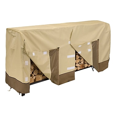 Classic® Accessories Veranda Woven Polyester Fabric Large Log Rack Cover, Pebble/Bark/Earth