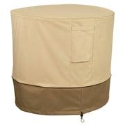 "Classic® Accessories Veranda Woven Polyester Fabric 34""(D)Round AC Cover, Pebble/Bark/Earth"