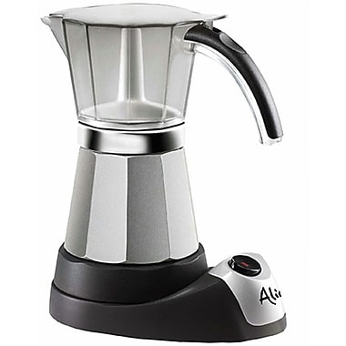 Delonghi EMK 3 - 6 Cup Alicia Moka Espresso and Coffee Maker, Black/Silver