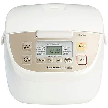 Panasonic® 5 Cup Microcomputer Controlled/Fuzzy Logic Rice Cooker, White With Silver Trim