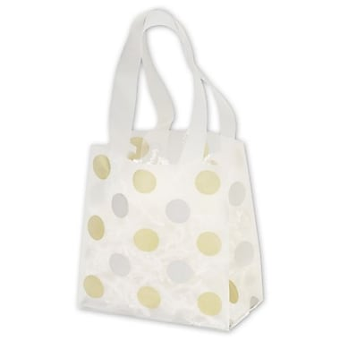 6 1/2in. x 3 1/2in. x 6 1/2in. Dots Frosted Flex Loop Shoppers, Gold and Silver on Clear