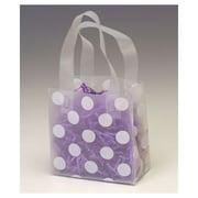 "Polyethylene 6.5""H x 6.5""W x 3.5""D Flex Loop Shopper Bags, White Dots on Clear, 100/Pack"