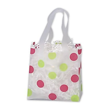 6 1/2in. x 3 1/2in. x 6 1/2in. Dots Frosted Flex Loop Shoppers, Pink and Green on Clear