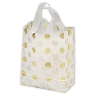 8in. x 4in. x 10in. Dots Frosted Flex Loop Shoppers, Gold and Silver on Clear