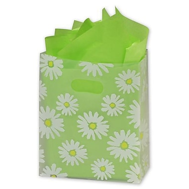 8in. x 4in. x 10in. Daisy Die Cut Frosted Shoppers, Clear
