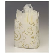 "Polyethylene 10""H x 8""W x 4""D Flex Loop Shopping Bags, White/Gold, 100/Pack"