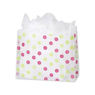 16in. x 6in. x 12in. Dots Frosted Flex Loop Shoppers, Pink and Green on Clear