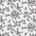 24in. x 100' White Holly Metallized Gift Wrap, White/Red/Silver