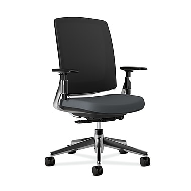 HON Lota Mesh Back Computer Chair for Office and Computer Desks, Arms, Aluminium Polished Base, Charcoal