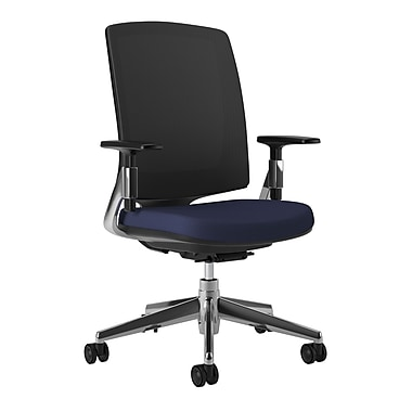 HON Lota Mesh Back Computer Chair for Office and Computer Desks, Arms, Aluminium Polished Base, Navy