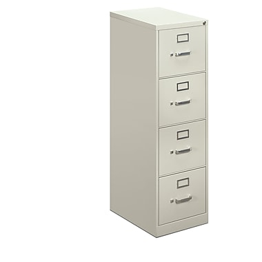 basyx by HON 410 Series 4-Drawer Vertical File Cabinet, Light Gray