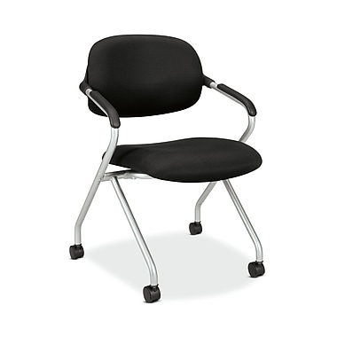 basyx by HON HVL303 Floating Back Nesting Chair, Casters, Silver Frame, Black Fabric