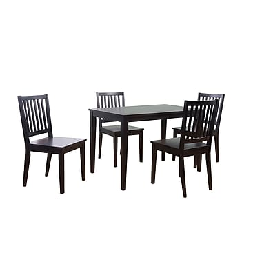 TMS Shaker 29in. x 45in. x 28in. Rubberwood 5 Piece Dining Set, Black