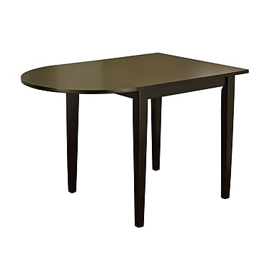 TMS Tiffany 29in. x 30 - 43 3/4in. x 30in. Rubberwood Dining Table, Black