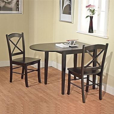 TMS Tiffany 29in. x 30 - 43 3/4in. x 30in. Rubberwood 3 Piece Dining Set, Black