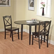 "TMS Tiffany 29"" x 30 - 43 3/4"" x 30"" Rubberwood 3 Piece Dining Set, White/Natural"