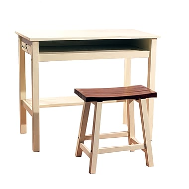 TMS Lincoln Wood 2 Piece Study Set, White/Oak