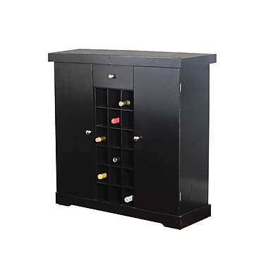 TMS Wood Wine Storage Cabinet, Black