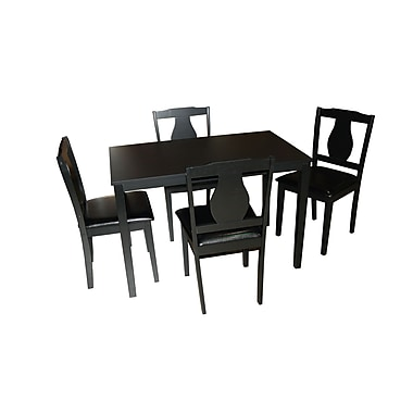 TMS Kaylee 29.3in. x 44.6in. x 27.6in. Rubberwood 5 Piece Dining Set, Black