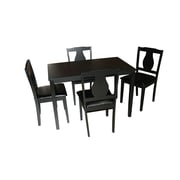 "TMS Kaylee 29.3"" x 44.6"" x 27.6"" Rubberwood 5 Piece Dining Set, Black"