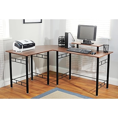 TMS Engineered Wood L-Shaped Wrap Computer Desk, Espresso