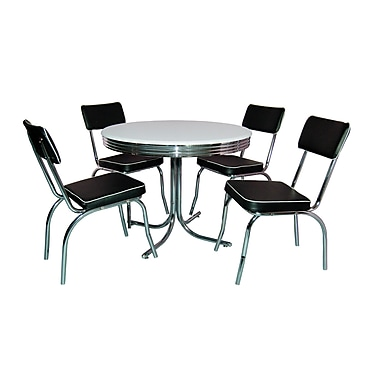 TMS Retro 30in. x 38in. x 38in. Metal 5 Piece Dining Set, White/Black