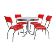 "TMS Retro 30"" x 38"" x 38"" Metal 5 Piece Dining Set, White/Red"