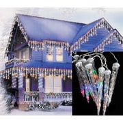 LB International LED White Wire Dripping Icicle Shape Christmas Light, 6/Set, Multi-Color