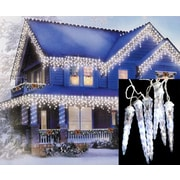LB International LED White Wire Dripping Icicle Shape Christmas Light, 8/Set, Polar White